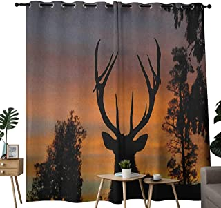NUOMANAN Curtains 84 inch Length Antlers,Black Deer on Sky Background West Coast South Island New Zealand Nature, Seal Brown Marigold,Modern Farmhouse Country Curtains 54