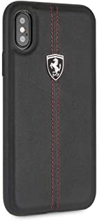 CG MOBILE Ferrari iPhone X & iPhone Xs Case - by - Black Cell Phone Case Genuine Leather   Easily Accesible Ports   Offici...