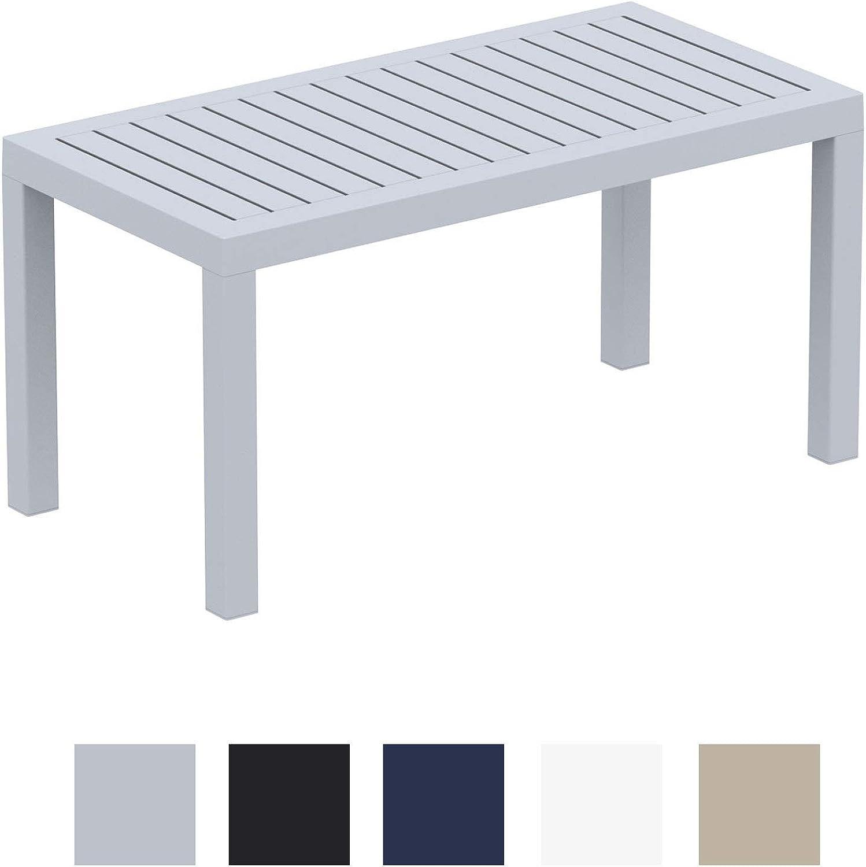 CLP Lounge Tisch Ocean I Wetterfester Gartentisch aus UV-Bestendigem Kunststoff I wetterfest und UV-Bestendig I robuster Gartentisch Grau