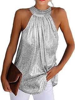 UUYUK Women's Halter Neck Shiny Sleeveless Vest Tank Tops Shirts Blouse