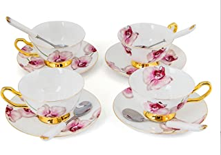 Porcelain Tea Cup and Saucer Set Coffee Cup with Saucer and Spoon 8 oz Set of 4 (Phalaenopsis Orchid)