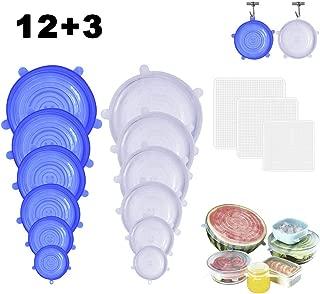OFUN Reutilizable Tazones de Silicona, 12 Paquetes Colgable Tapas de Silicona Elásticas con 3 Tapas Silicona Ajustables Cocina para Alimentos Tapa Tazas, Boles o Tarros, Varios Tamaños