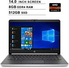 2019 Premium HP 14 Inch Laptop (AMD Ryzen 3 3200U 2.6GHz up to 3.5GHz, AMD Radeon Vega 3 Graphics, 8GB DDR4 RAM, 512GB SSD, WiFi, Bluetooth, HDMI, Windows 10 Home S) (Natural Silver)