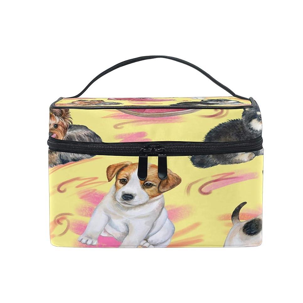 電気技師おもしろい雨UOOYA かわいい 犬柄 おしゃれ メイクボックス 大容量 持ち運び メイクポーチ 人気 小物入れ 通学 通勤 旅行用 プレゼント用