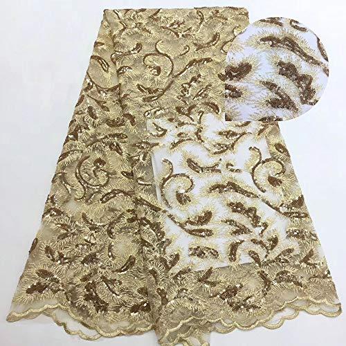 African Fabric Rosa Nigerian Stickerei-Spitze-Gewebe-Braut African Französisch Pailletten Guipure Mesh-Tulle-Spitze-Gewebe for Brautkleid (Color : Gold, Size : 5YARDS)