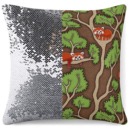 Mermaid Throw Pillow Cover Reversible Sequin Cushion Case Forest Red Panda Home Couch Decor Gag Gifts Sparkling Pillowcases (16 in x 16 in) 40 cm x 40 cm