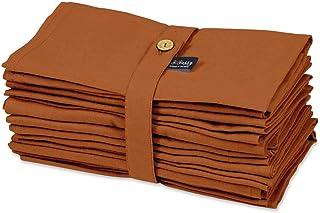 S4Sassy Orange Solide décoration de Maison 12 Pcs Set Thé Table De Fête Linge De Table Serviettes Lavables Solides