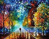 Suntown Pintura por números Pintura de Lona 40x50cm para Adultos y niños con Pinturas acrílicas y 3 Pinceles - Calle romántica ( Sin Marco )