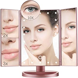 Tri-Fold Illuminated Vanity Mirror with 22 LED Lights Touch Screen Dimming 10X 3X 2X 1X Magnification Mirror Two Power Supply Mode Tabletop Makeup Mirror Travel Cosmetic Mirror