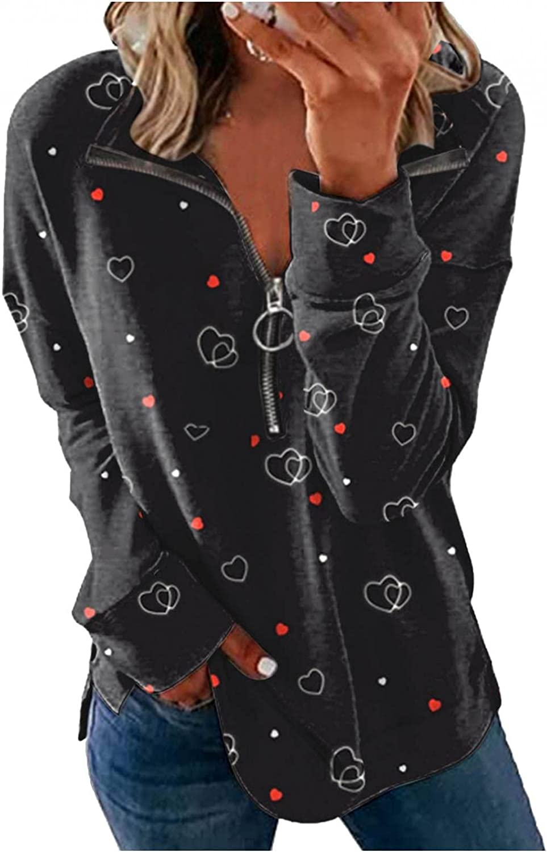 Qunkii Womens 1/4 Zip Pullover Sweatshirt Causal Long Sleeve Zipper Print Pullover Activewear Lapel Loose Fit Tunic Top