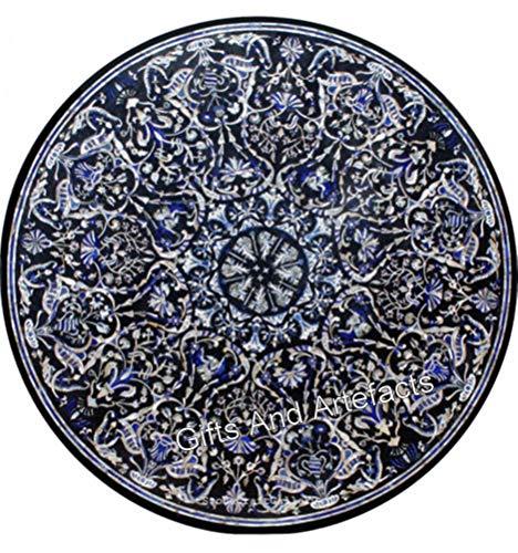 Gifts And Artefacts Table de cuisine en marbre de forme ronde avec marquetterie Art Home Assents 96 pouces