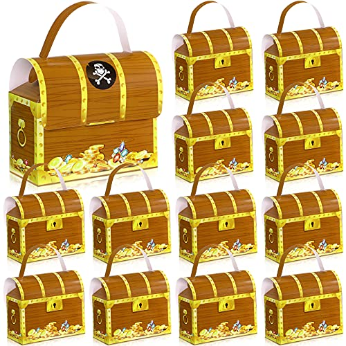 12 Pieces Pirate Treasure Gold Chest Treat Box 8.5 inch Large Pirate Party Favor Goodie Candy Bag Pirate Treasure Craft Paper Boxes for Pirate Candy Birthday Theme Party Favors Hanukkah Supplies