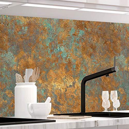 Küchenrückwand 1,5mm selbstklebend - VINTAGE BRONZE - Hartkunststoff, alle Untergründe möglich, Spritzschutz, PREMIUM 60 x 220cm