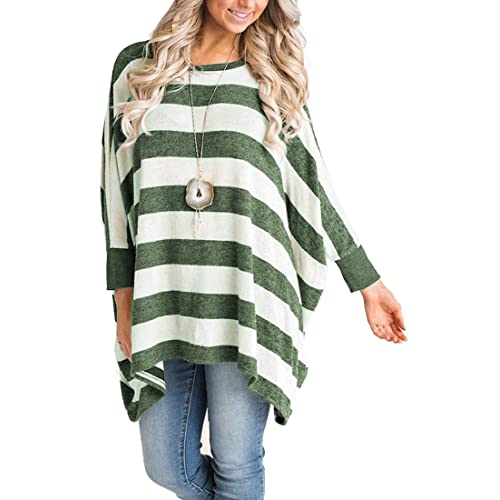 a00164cf858d MIROL Women s Casual Long Sleeve Striped Poncho Style Asymmetrical Hem  Loose Fit Tunic Tops