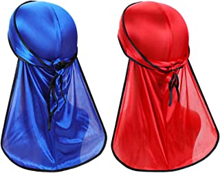 2 Pieces Super Soft Durag Headwraps with Extra Long Tail and Wide Straps for 360 Waves