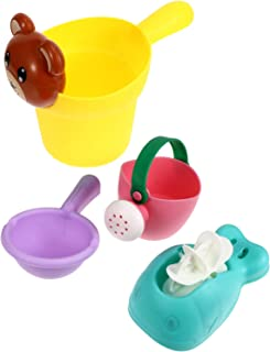 TOYANDONA Bath Toys Bathtub Toys for Toddlers Babies Kids Beach Sand Toy 4pcs Mini Sprinkler Watering Can Toys Cups Gifts ...