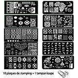 Ongle Amor - 10 plaques de stamping nail art pochoir a ongles+ tampon loupe pour décorer les ongles rapidement …