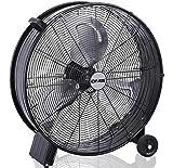 DMS Industrieventilator | Windmaschine | Bodenventilator | Hallenlüfter | Trommelventilator und -gebläse | 3 Geschwindigkeitsstufen | Ø 60cm | 160 Watt | 13800m3/h | Schwarz