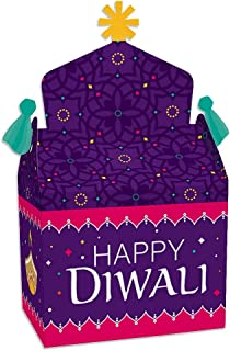 Big Dot of Happiness Happy Diwali - Treat Box Party Favors - Festival of Lights Party Goodie Gable Boxes - Set of 12