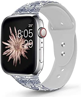Viwell Silicone Floral Band Compatible iWatch Band 40mm 38mm 44mm 42mm for Women Men, Elephant Horde Silicone Strap Sports Replacement for iWatch Series 5 4 3 2 1