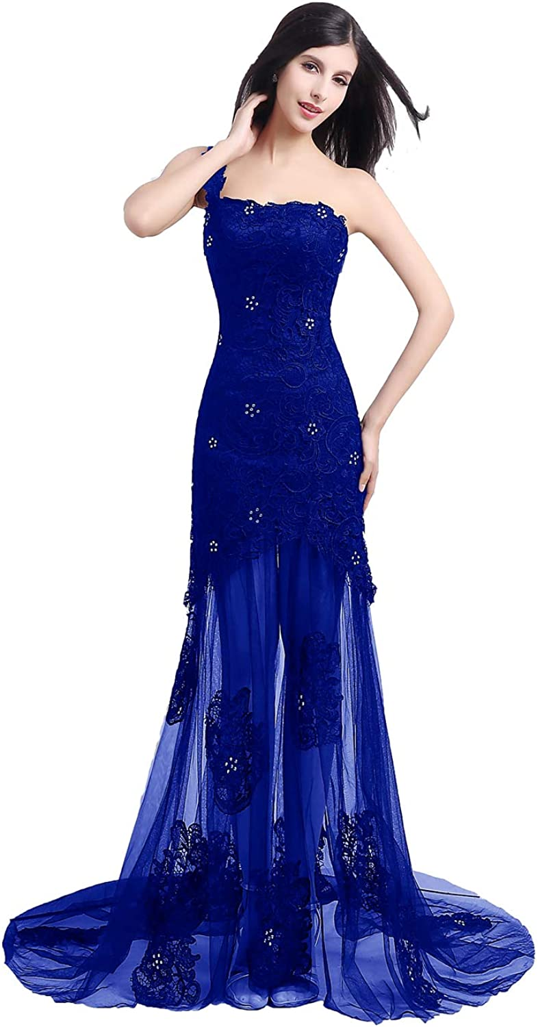 ANFF Women's One Shoulder Prom Dress Long Evening Cocktail Dress Formal Gowns