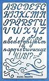 Aleks Melnyk #34.2 Stencil in Metallo Riutilizzabili per Pittura/Stampo Stencil con Alfabeto, Lettere Corsivo, Numeri/Stencil da Cartolina, DIY/Template di Pittura Decorativo