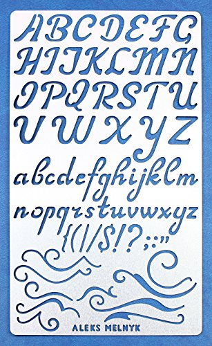 Aleks Melnyk #34.2 Metal Journal Stencil/Alphabet Letter Number, ABC/Stainless Steel Stencil 1 PCS/Template Tool for Painting, Wood Burning, Pyrography and Engraving/Scrapbooking/Crafting/DIY
