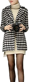 neveraway Women's Plaid Double Breasted Mid-Long Lapel Slimming Pea Coat