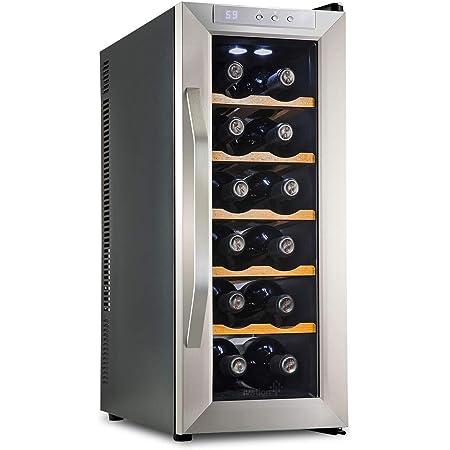 Door Lock Freestanding Refrigerator Smoked Glass Door Quiet Operation Fridge Ivation 12 Bottle Thermoelectric Wine Cooler//Chiller Counter Top Red /& White Wine Cellar w//Digital Temperature Display