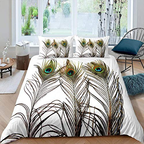 Fadaseo Bed Reversable Quilt Duvet Cover Set Easy Care Anti-Allergic Soft & Smooth With Pillow Cases - Bohemian Animal Green Peacock Feather Pattern (200 X 200 Cm)