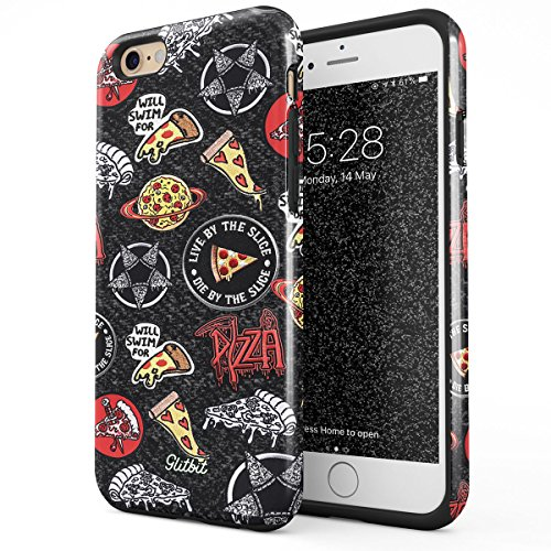 Glitbit Compatible with iPhone 6 Plus iPhone 6s Plus Case Pizza Slice Food Patches Pattern Embroidery Crust We Trust Food Addict Fast Food Shockproof Dual Layer Hard Shell + Silicone Protective Cover