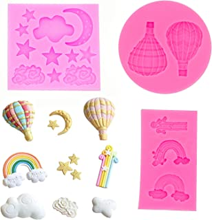 HASTHIP® Reusable Fondant Silicone Mold Moon Star Cloud Balloon Rainbow Silicone Molds Set DIY Handmade Baking Tools for C...