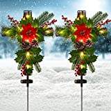 Doingart 2 Pack Outdoor Solar Lights Christmas Decorations, Cross Stake Lights with Faux Poinsettia Pine Cones Red Berries and Foliage for Garden Patio Grave