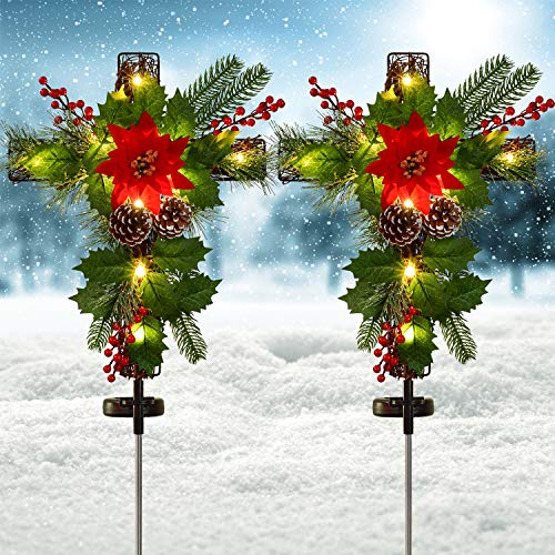 Artiflr 2 Pack Outdoor Solar Lights Christmas Decorations, Cross Stake Lights with Faux Poinsettia Pine Cones Red Berries and Foliage for Garden Patio Grave
