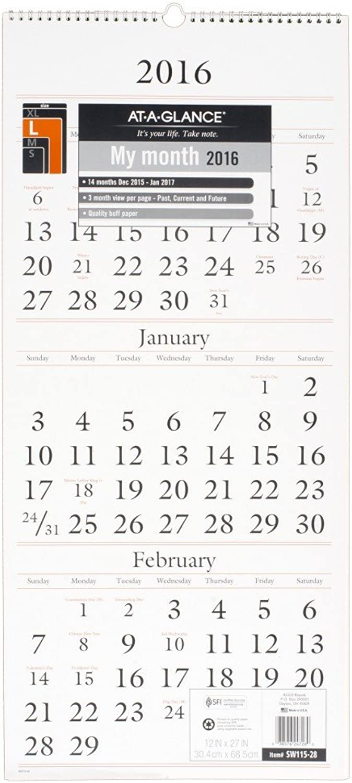 AT-A-GLANCE Wall Calendar 2016, 3 3 3 Month View, 12 x 27 Inches (SW115-28) by At-A-Glance B00WUUOSF6   Verschiedene Arten Und Die Styles  f18f54