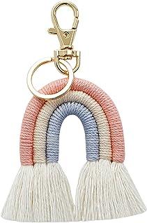 Bhuuno Weaving Rainbow Keychains Tassel Macrame Key Holder Keyring Bag Charm - Pink, 12x6cm