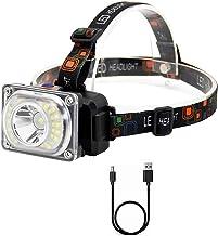 YSJJXTB Koplamp LED Koplamp 4-Modes Flash Koplamp Oplaadbare Hoofd Torch Camping Jacht Frontale Lantaarn Rood/Geel/Wit Lam...
