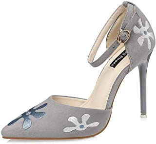 Ying-xinguang Shoes Fashion Sexy Word with Stiletto Flower Sandals Women's High Heel Comfortable