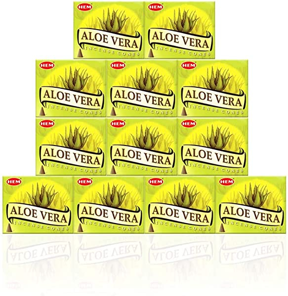 Aloe Vera Case Of 12 Boxes 10 Cones Each HEM Incense From India