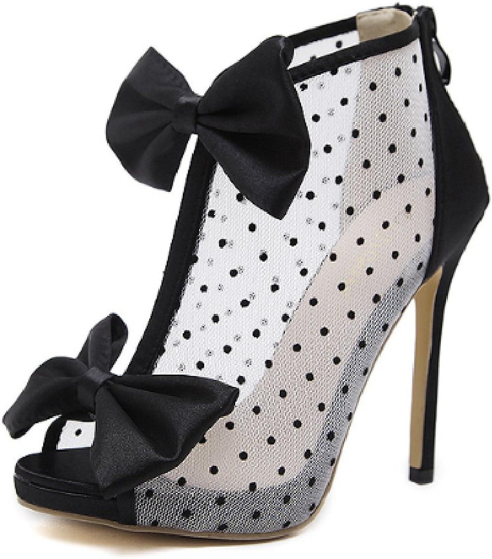 Btrada Women's Bowknot Heeled Sandals Sexy Lace High Heel Stiletto Ladies Zipper Pumps Party Dress shoes