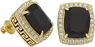 2.00 Ct Emerald & Round Cut Black & White Simulated Diamond Halo Stud Earrings Solid 10k Yellow Gold