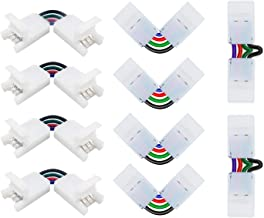 Nexillumi L Shape 4-pin Connectors Angle Adjustable(90-180 Degrees) LED Strip Connectors for 10mm Width 5050 RGB LED Strip...