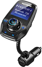 VicTsing Bluetooth FM Transmitter for Car, Power Off Switch, Music Player Support USB Flash Drive /Micro SD Card /AUX Input, Wireless Radio Transmitter with 1.44'' Display, Dual USB - Black