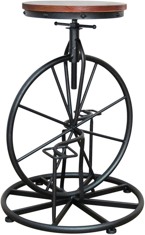 LYXPUZI Barhocker Industrial Wind Bicycle bar Chair Solid Wood bar Chair Lift high Stool Wheel Round Stool Frühstücksschemel