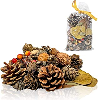 Pinecones and Fall Leaves - Bag of Pine Cones, Leaves, Acorn, Orange Berries Unscented- Perfect for Potpourri Vase Bowl Filler or Crafting- Farmhouse Autumn Christmas Home Decoration…