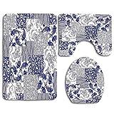 Patrón de arte y artesanía de patchwork japonés estilizado con figuras de naturaleza botánica de la naturaleza 3 juegos de alfombras de baño WC Alfombrilla de contorno del piso Tapa de la tapa del ino