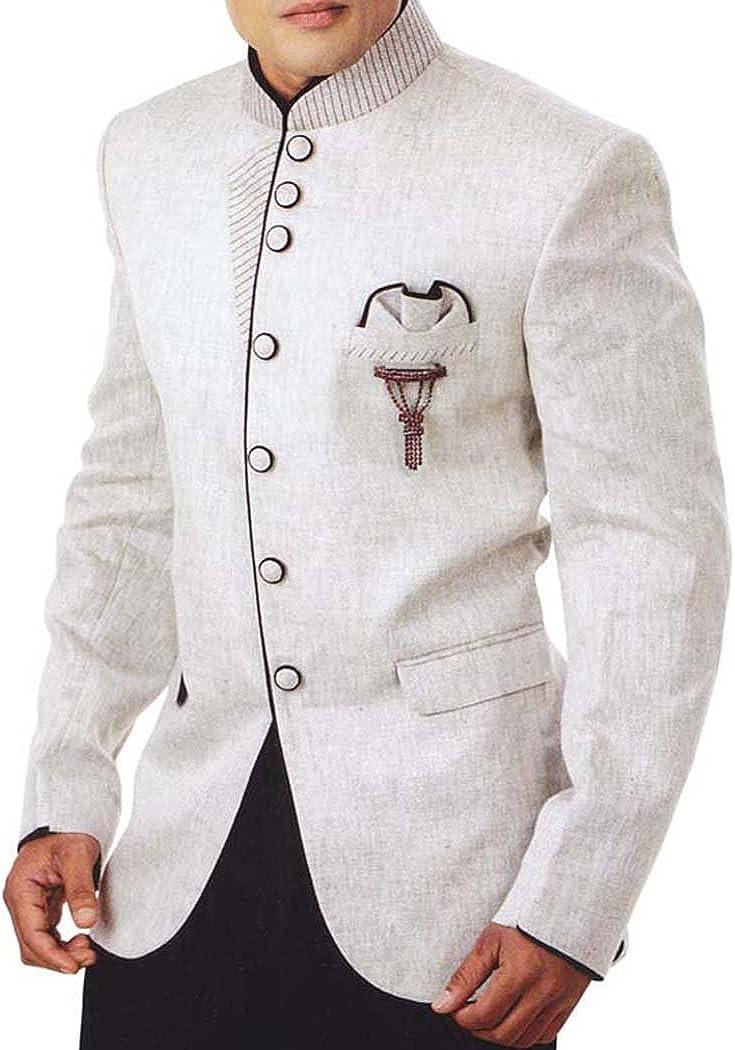 INMONARCH Mens Cream Linen 4 Pc Tuxedo Suit Bandhgala TX951