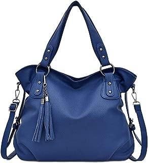 SRY-Bags Laptop Bag for Women PU Leather Large Handbags Capacity Totes Women Fashion Shoulder Crossbody Bags Ladies Messenger Bag (Color : Blue, Size : M)