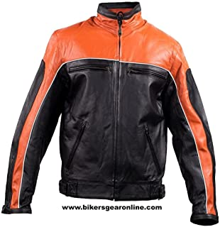 MEN'S MOTORCYCLE LEATHER JACKET BLACK ORANGE RACING STYLE SOFT LEATHER NEW (50 Regular)