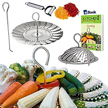PREMIUM Vegetable Steamer Basket - BEST Bundle - Fits Instant Pot Pressure Cooker 3,5,6 Qt & 8 Quart - 100% Stainless Steel - BONUS Accessories - Safety Tool + eBook + Peeler | For Instapot - Egg Rack
